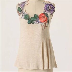 Anthropologie Ric Rac Creme Floral Appliqué Top